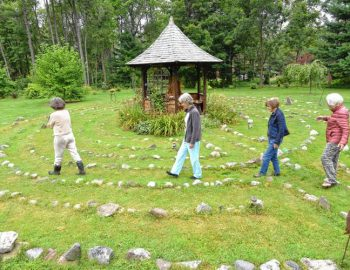 Construction of community labyrinth set for Thursday